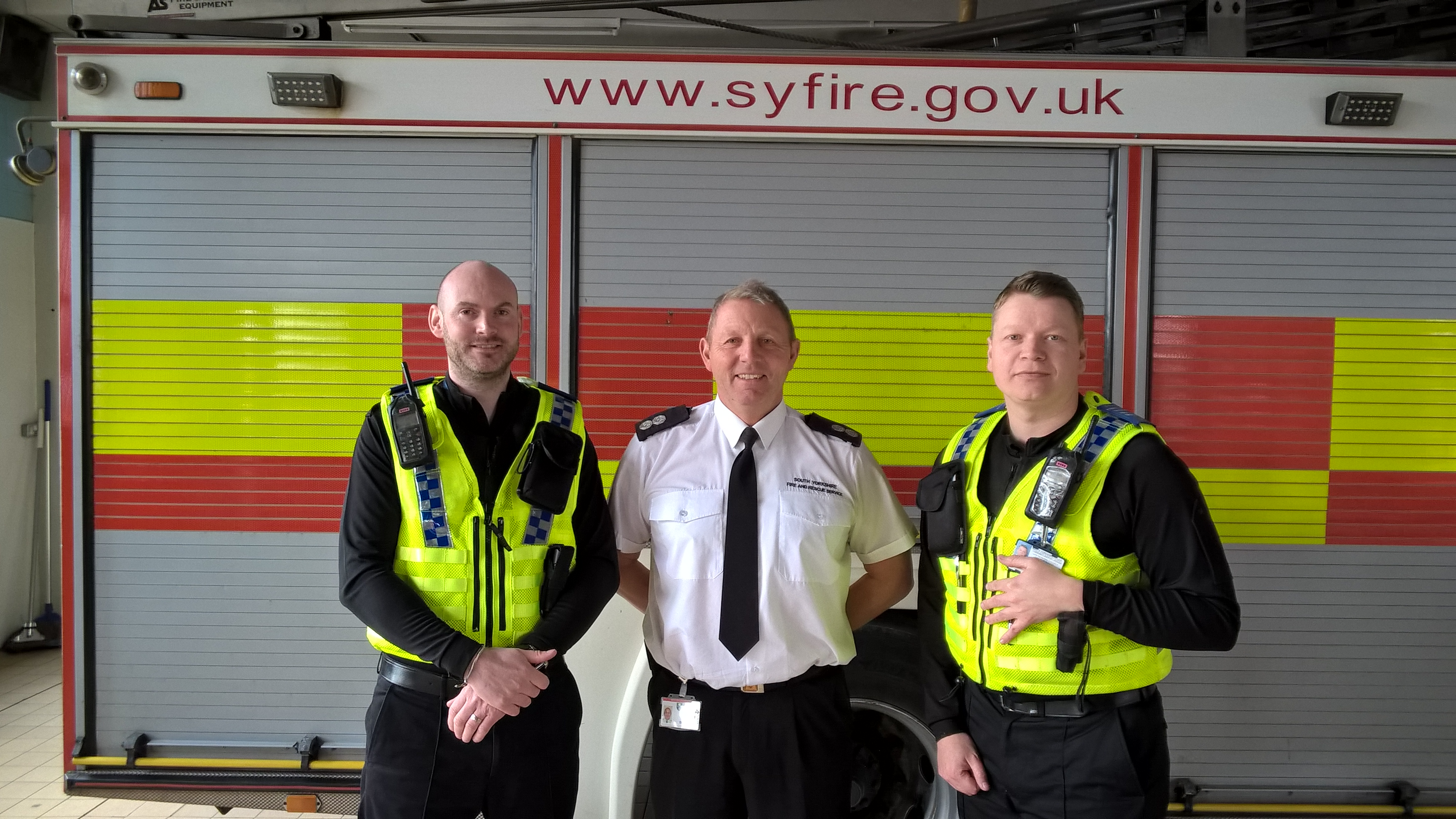 Pictured L-R:  PCSO Jonathan Bentley, South Yorkshire Fire and Rescue Watch Manager Simon Brookes and PCSO Peter Robinson.