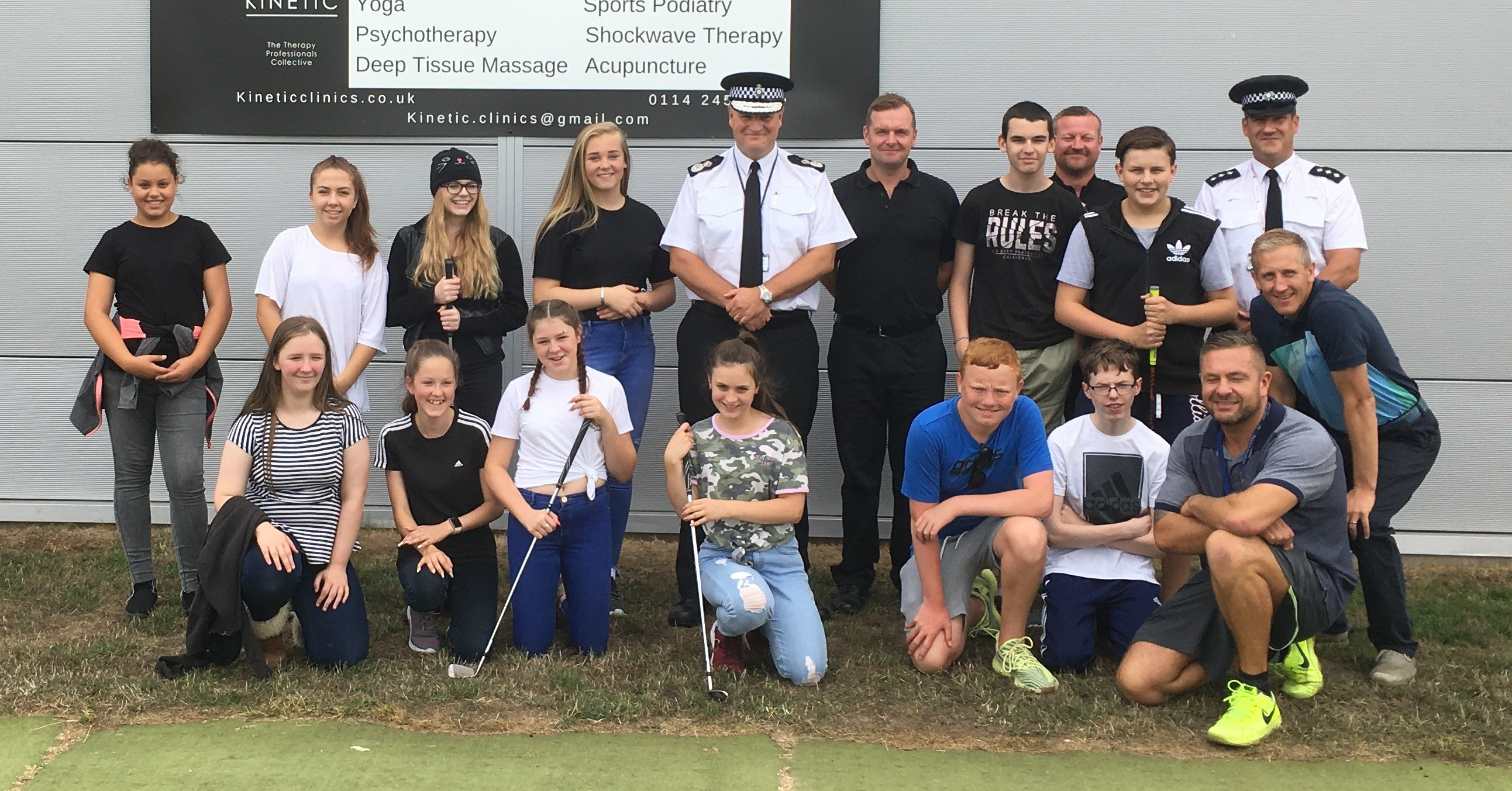 Chief Constable Stephen Watson with budding golf stars in Wath